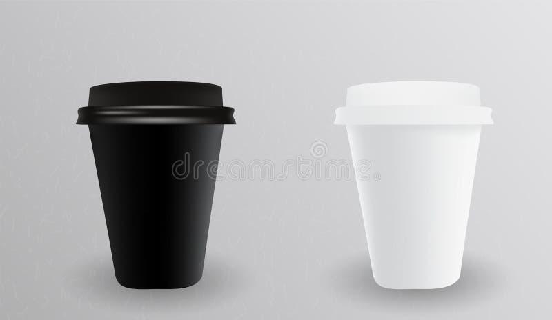 Vit och svart pappers- kopp för varmt ocks? vektor f?r coreldrawillustration royaltyfri illustrationer