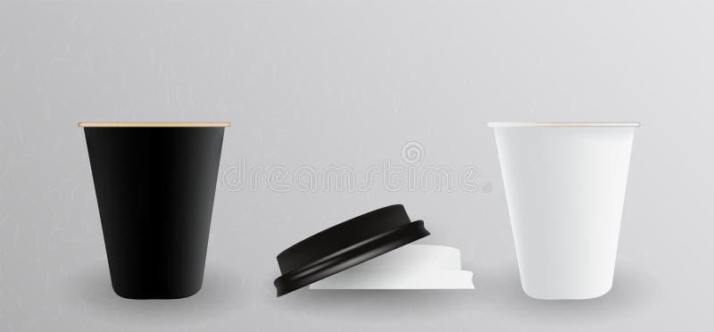 Vit och svart pappers- kopp för varmt ocks? vektor f?r coreldrawillustration stock illustrationer