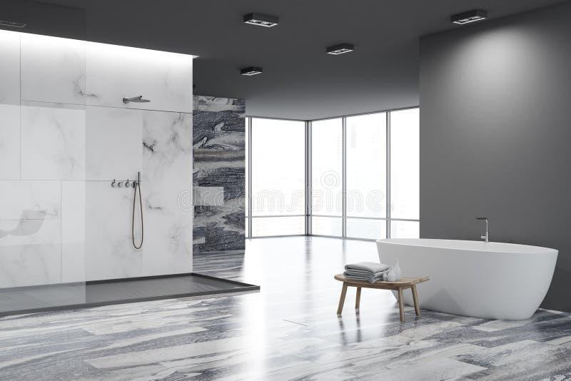 Vit- och svartbadrummet tränga någon, vit badar stock illustrationer