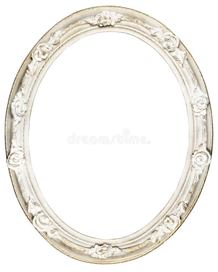 Vit oval barock ram arkivfoton