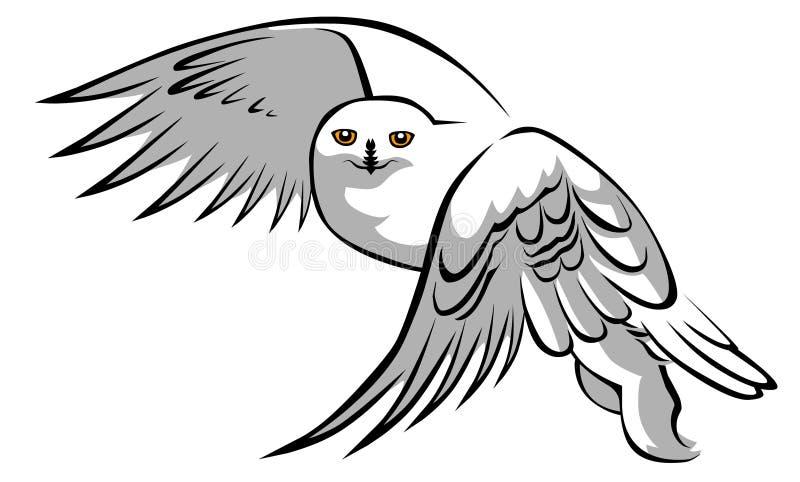 Vit owl stock illustrationer