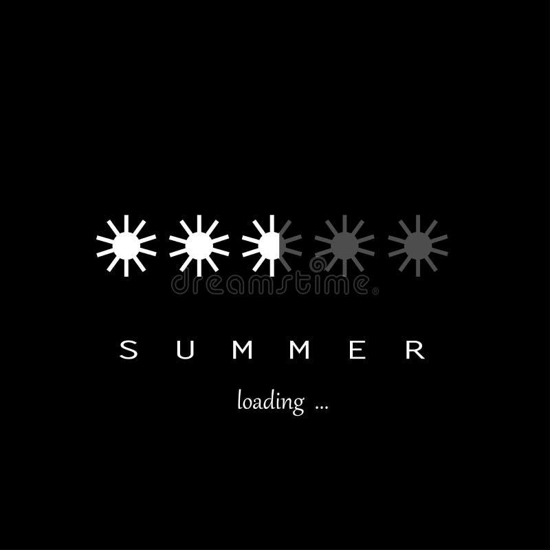 Vit päfyllning för solsimbolssommar som isoleras på den svarta bakgrundsfyrkanten, vektor royaltyfri illustrationer
