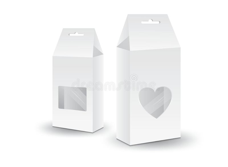 Vit packeaskvektor, packedesign, ask 3d, produktdesign, realistiskt förpacka för mat och drink vektor illustrationer