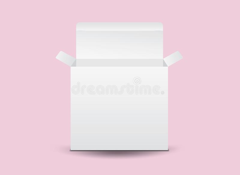Vit packeaskvektor, packedesign, 3d ask, produktdesign, realistiskt f?rpacka royaltyfri illustrationer