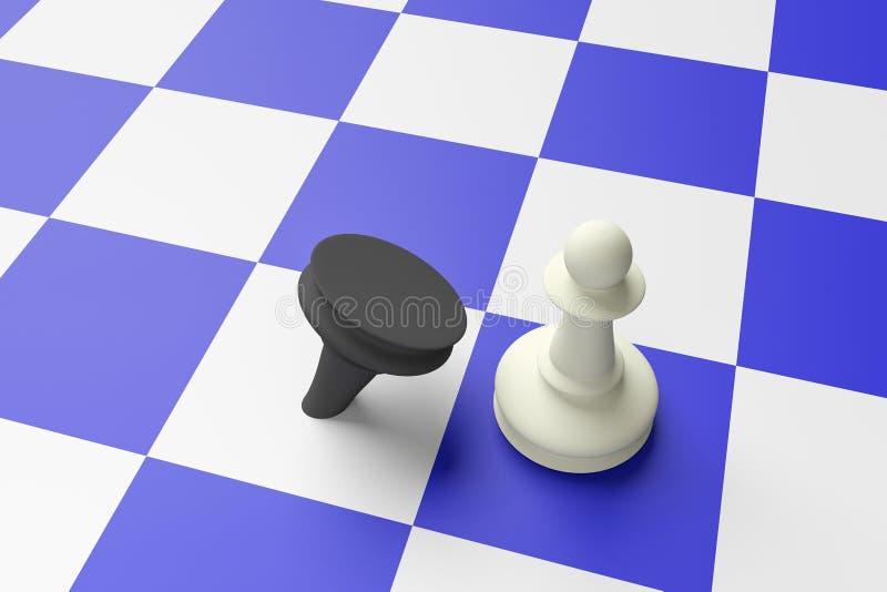 Vit pantsätter att besegra svart pantsätter på ett blått schackbräde stock illustrationer