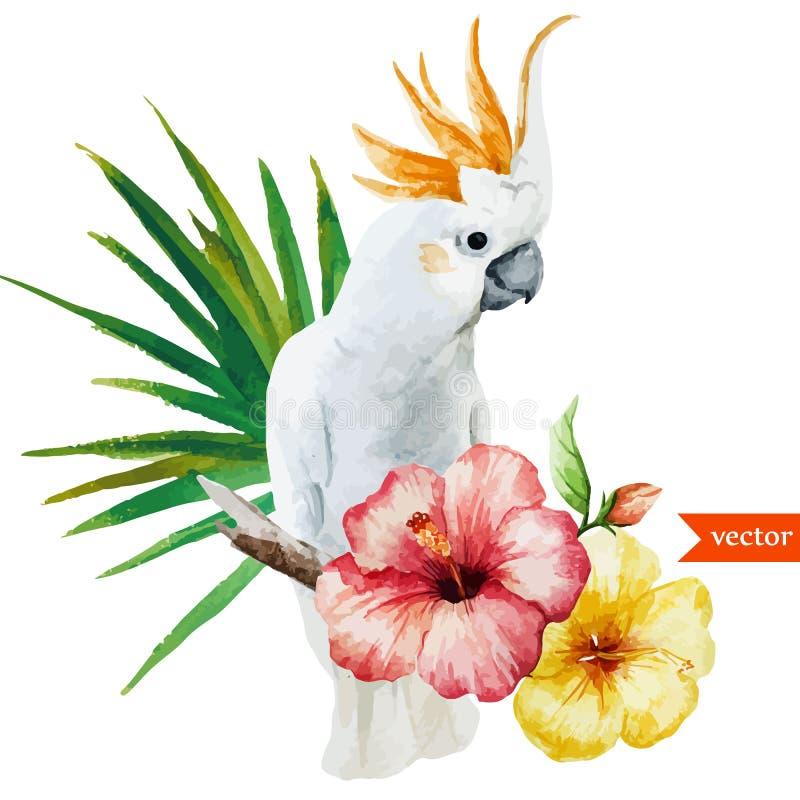 Vit papegoja, hibiskus som är tropisk, palmträd, blommor, modell, tapet royaltyfri illustrationer