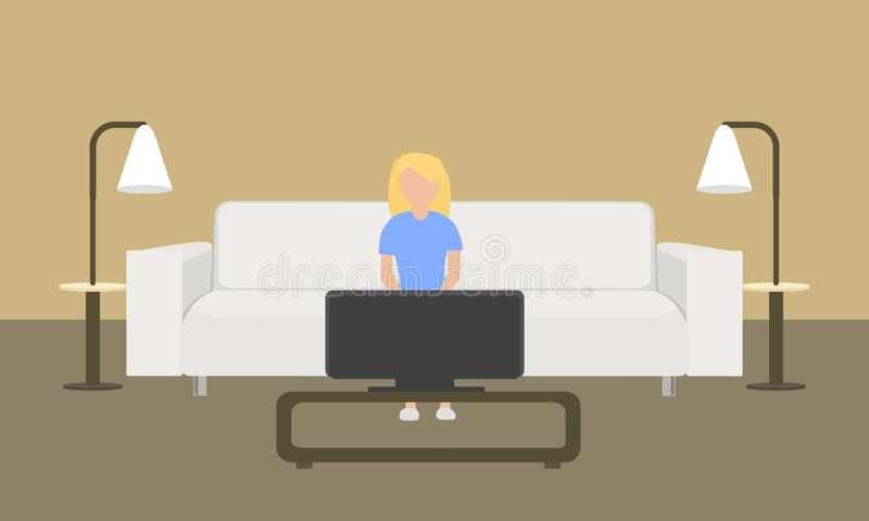 Vit piskar soffabegreppsbanret, plan stil stock illustrationer
