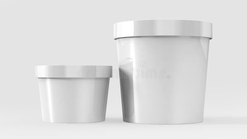 Vit plast- badar behållaren för efterrätt, yoghurt, glass, gräddfil eller mellanmål Ordna till för din design royaltyfri illustrationer