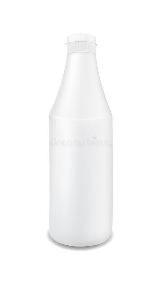 Vit plast- flaska för mellanrum för ketchup, sås, senap, majonnäs vektor illustrationer
