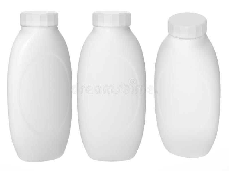 Vit plast- flaska som förpackar med den snabba banan för cosmatics royaltyfri bild
