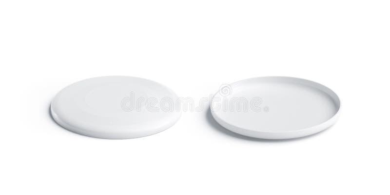 Vit plast- frisbeemodell för mellanrum, isolerat som är främre och tillbaka vektor illustrationer