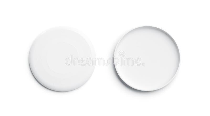 Vit plast- frisbeemodell för mellanrum, isolerat som är främre och tillbaka stock illustrationer