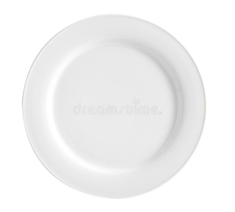 Vit platta f?r tom runda med den dekorerade gr?nsen p? det vita br?det - bild arkivbild