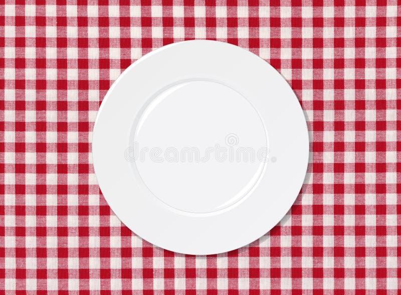 Vit platta på tablecloth vektor illustrationer