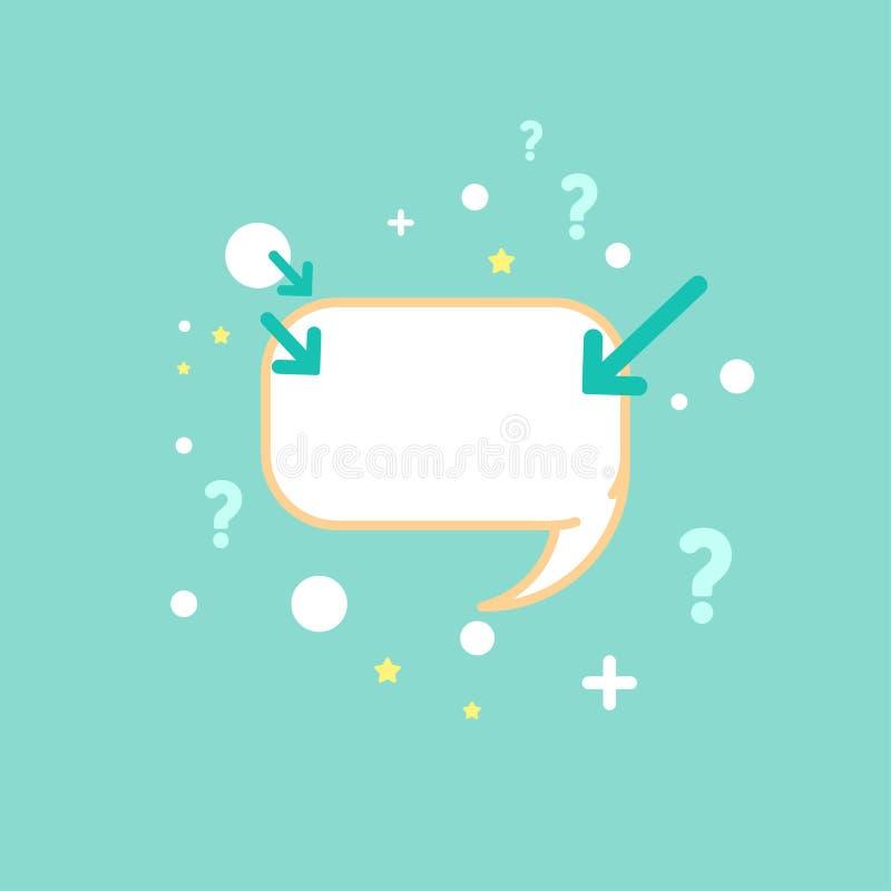 Vit pratstundanförandebubbla med frågor, pilar, prickar och andra symboler Plan symbol för vektor vektor illustrationer