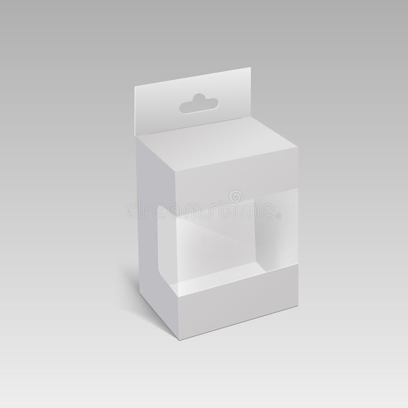 Vit produktpackeask med det Hang Slot och plast-fönstret Åtlöje upp mallen som är klar för din design vektor stock illustrationer