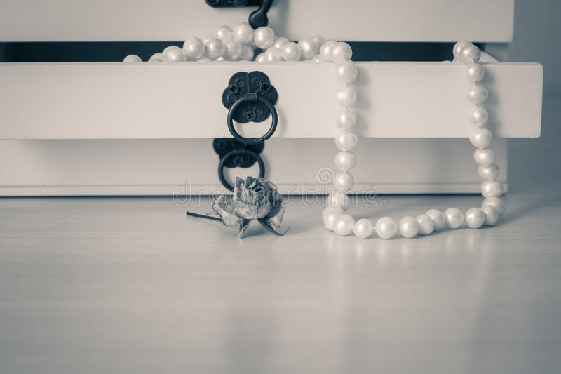 Vit pryder med pärlor halsbandet i träcasket arkivfoto