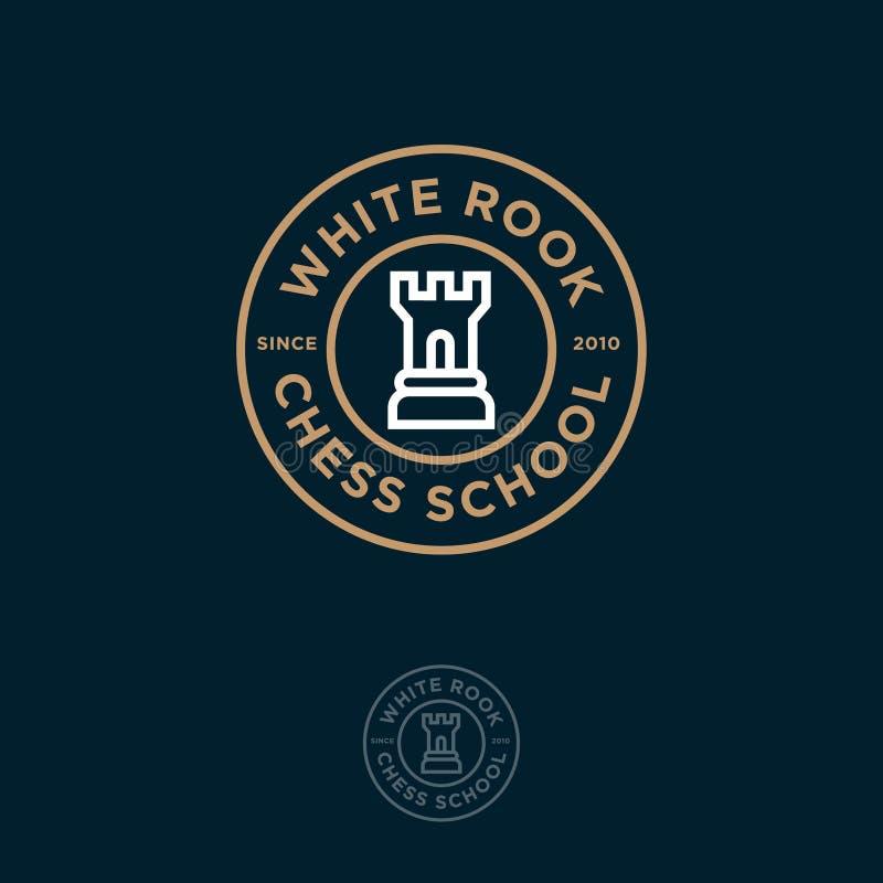 Vit råkalogo Schackklubba eller schackskolaemblem royaltyfri illustrationer