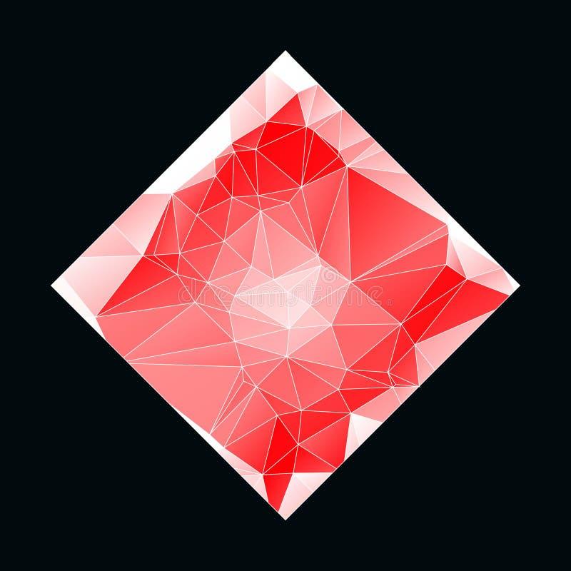 Vit röd bakgrund för idérik Poligonal triangel med copyspace på den L?g poly design Ljus modell för kopieringsutrymmefärg stock illustrationer
