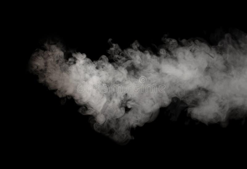 Vit rök som isoleras på svart royaltyfri foto