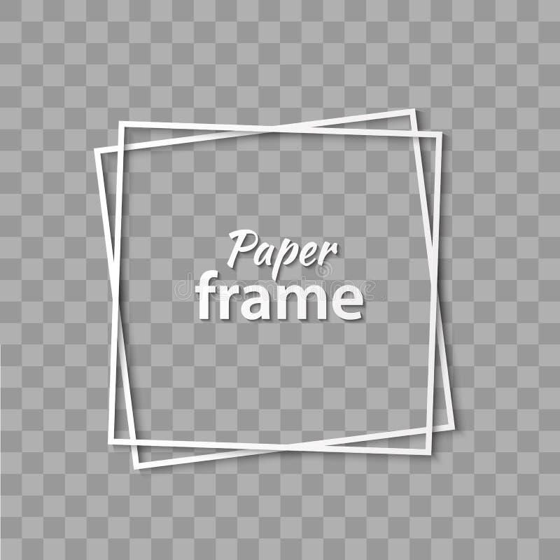 Vit ram för pappers- snitt med realistisk skugga Två lutade ned fyrkantig ramlögn en på andra Vektorkortillustration vektor illustrationer