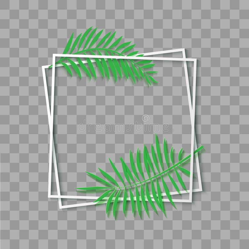 Vit ram för pappers- snitt med tropiska sidor Två lutade ned fyrkantig ramlögn en på andra Vektorkortillustration med royaltyfri illustrationer