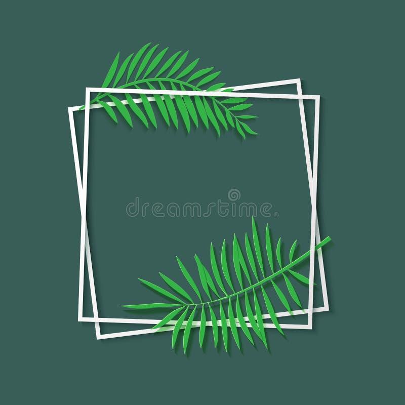 Vit ram för pappers- snitt med tropiska sidor Två lutade ned fyrkantig ramlögn en på andra Vektorkortillustration med stock illustrationer