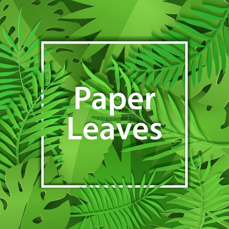 Vit ram för pappers- snitt med tung lövverk Fyrkantig ramlögn på gröna djungelsidor Vektorkortillustration med stället royaltyfri illustrationer
