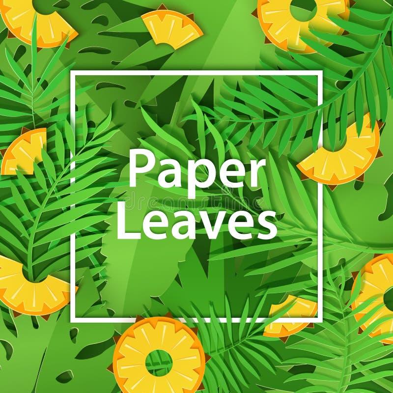 Vit ram för pappers- snitt med tung lövverk och citrus ananas Fyrkantig ramlögn på gröna djungelsidor och skivafrukt vektor illustrationer