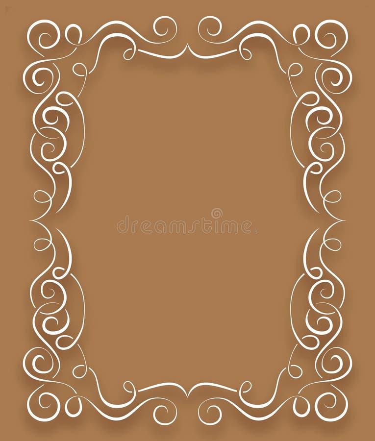 Vit ram för vektor med krullning på en brun bakgrund vektor illustrationer