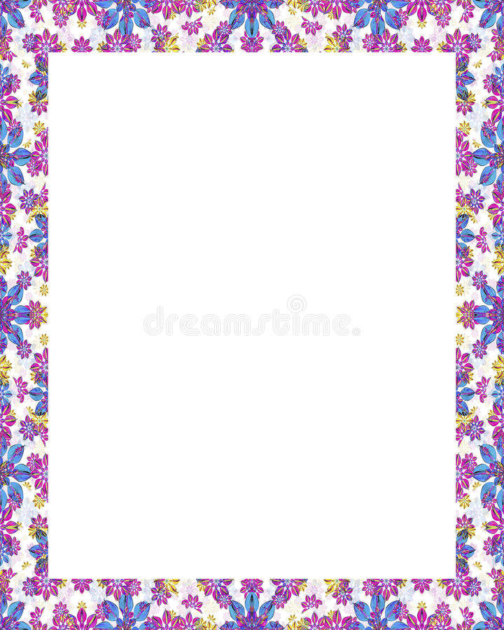 Vit ram med dekorerade blom- gränser vektor illustrationer