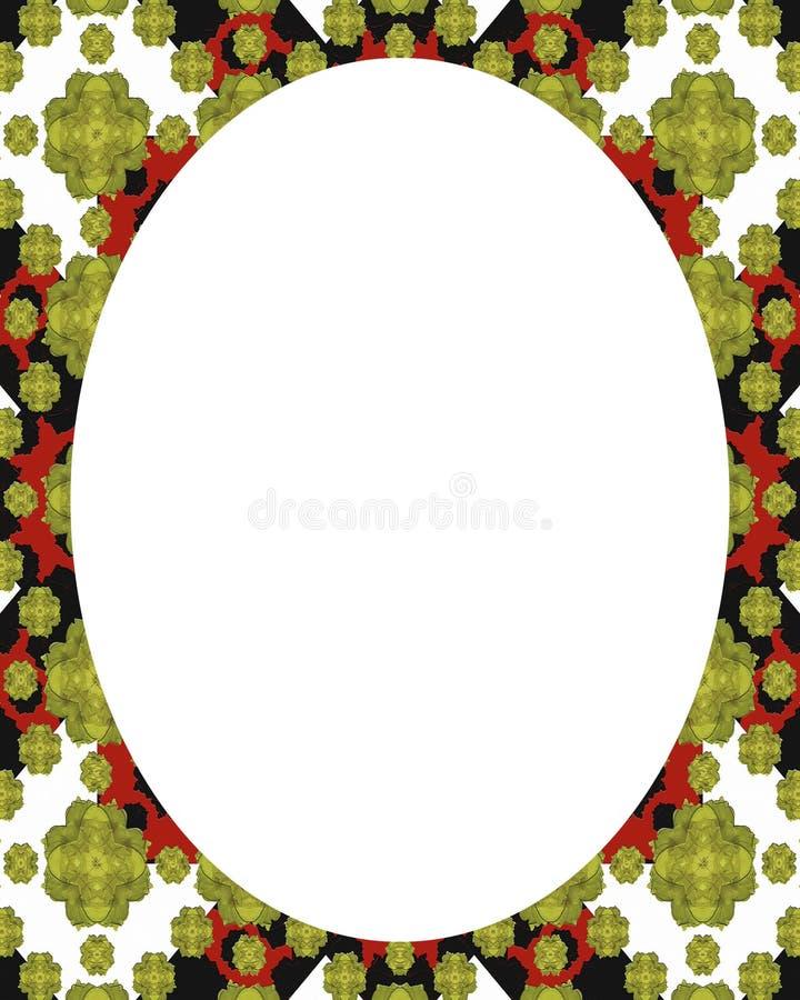 Vit rambakgrund för cirkel med dekorerade gränser stock illustrationer