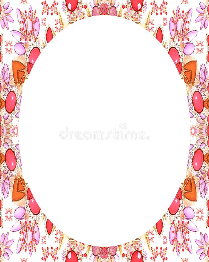 Vit rambakgrund för cirkel med dekorerade gränser royaltyfri illustrationer