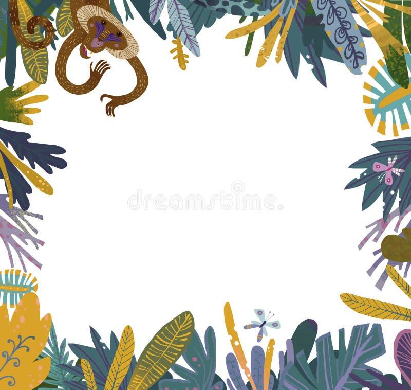 Vit rammodell med apan i djungel arkivbild