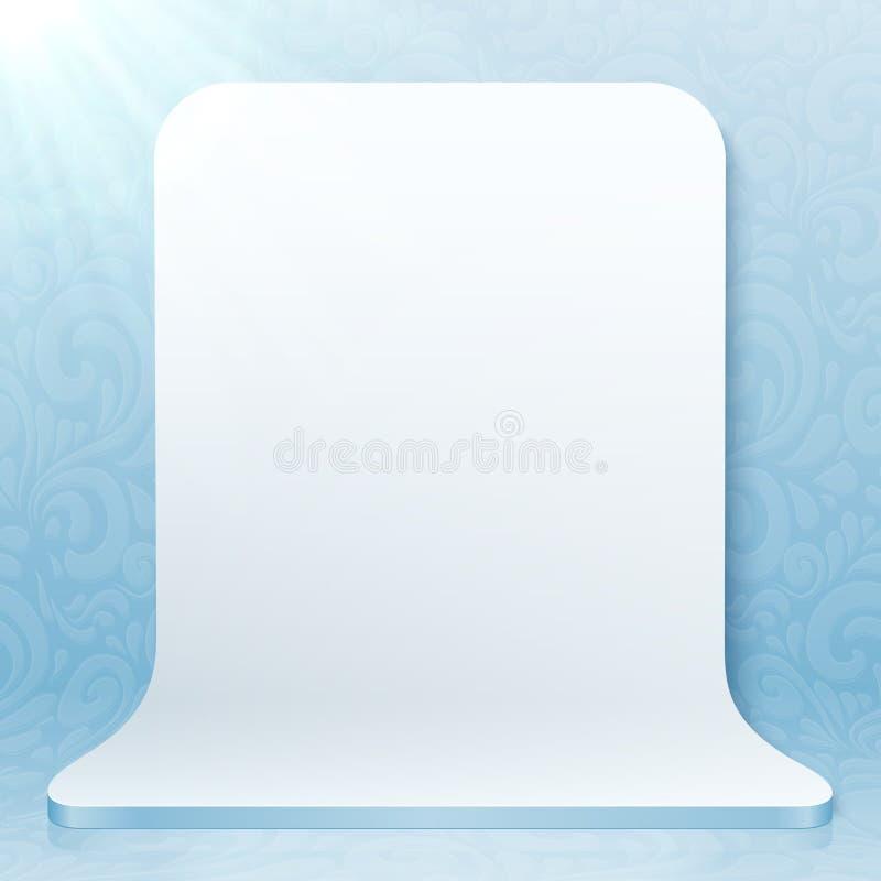 Vit realistisk plast- vektorstudiobakgrund royaltyfri illustrationer