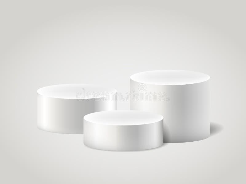 Vit realistisk ylinder och sockel, tom ställning för plats vektoruppsättning för cylinder 3D Cirkel, podium och ställningscirkulä vektor illustrationer