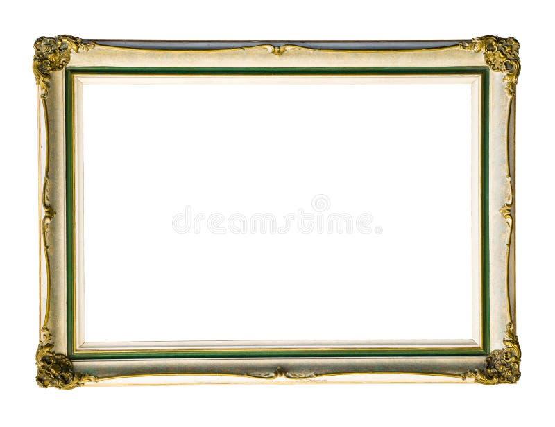 Vit rektangulär ram för tappning med en guld- prydnad som isoleras på vit arkivbilder