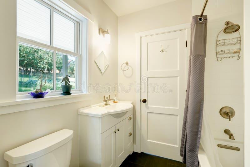 Vit ren badruminre Litet fåfängakabinett med en vask arkivbilder