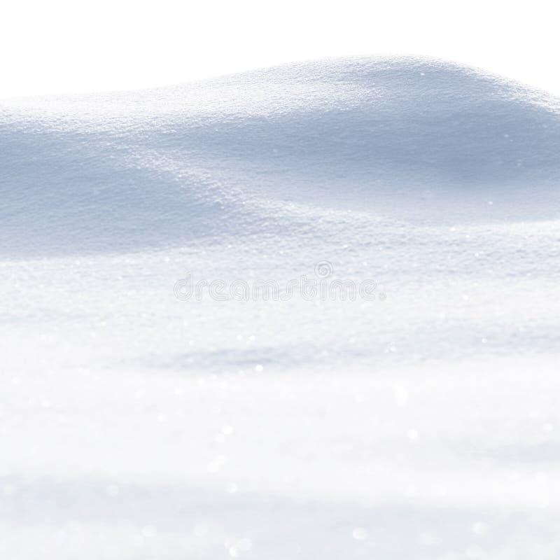 Vit, ren snöstruktur Snowdrift isolerad på vit bakgrund arkivbilder