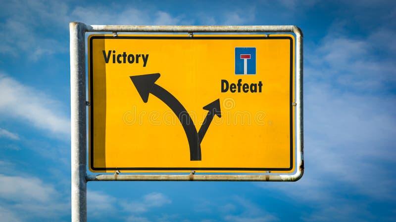 Vit?ria do sinal de rua contra a derrota imagem de stock royalty free