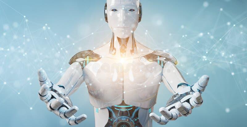 Vit robot genom att använda sväva anslutningar för digitalt nätverk med prickar och linjer 3D-tolkning stock illustrationer