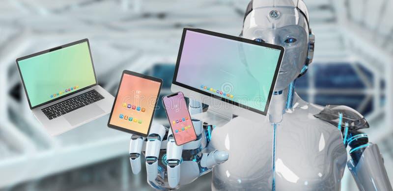 Vit robot som förbinder den moderna tolkningen för för smartphoneminnestavlabärbar dator och dator 3D royaltyfri illustrationer