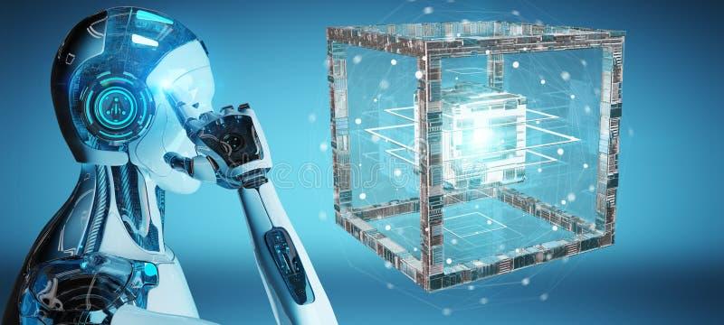 Vit robot som skapar den framtida tolkningen för teknologistruktur 3D royaltyfri illustrationer