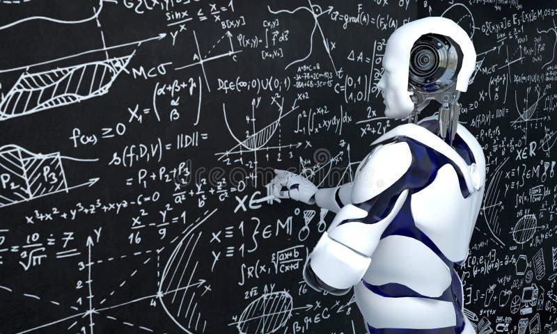 Vit robotteknologi arbetar på matematik, kemi, biologi, vetenskap royaltyfri illustrationer