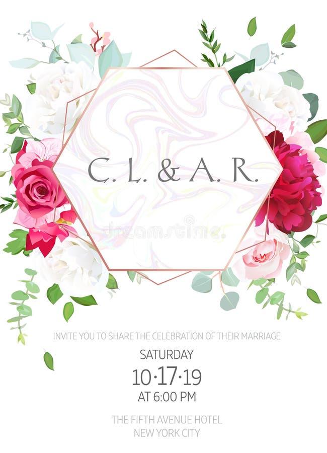 Vit ros, rosa vanlig hortensia, burgundy röd pion, eukalyptus, gree stock illustrationer