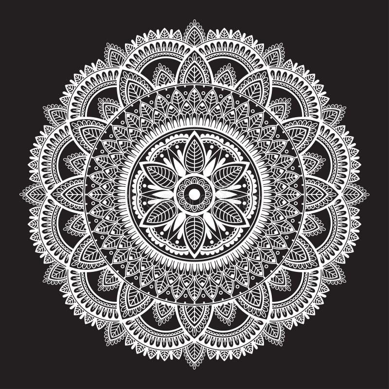 Vit rund etnisk mandala på svart bakgrund Rund dekorativ modell royaltyfri illustrationer