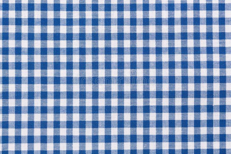 Vit rutig bordduk för blått och royaltyfri fotografi