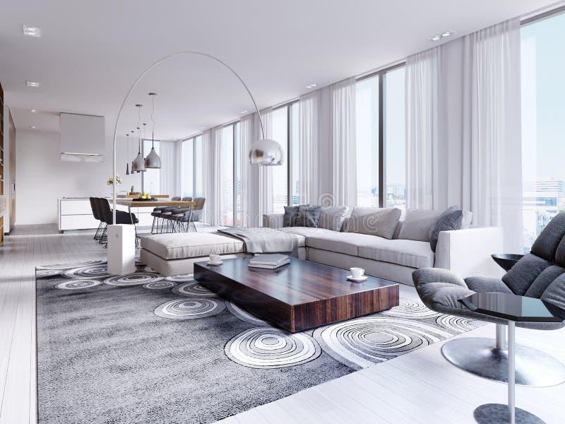 Vit rymlig fullständigt möblerad vardagsrum med den trätabellen och hörnsoffan stock illustrationer