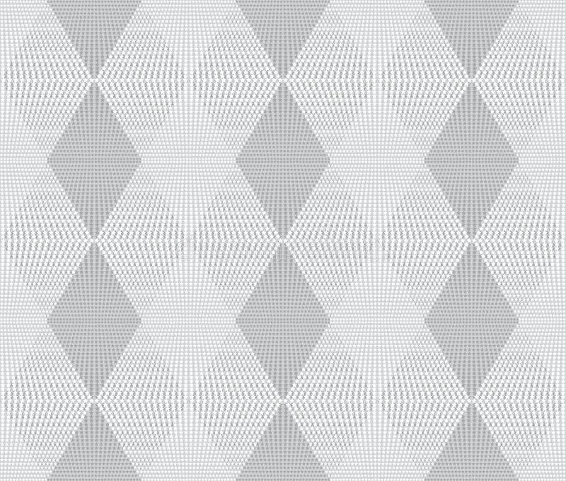 Vit sömlös textur Rengöringsdukbakgrund med romber, stjärnor stock illustrationer