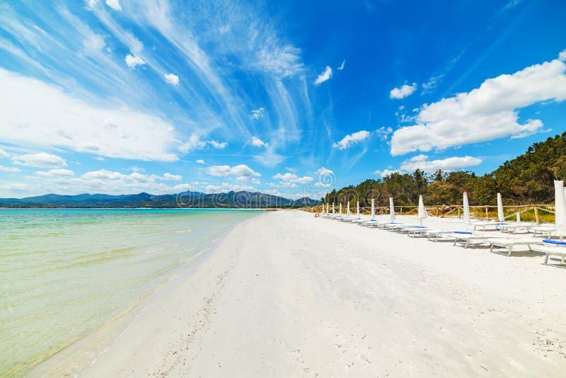 Vit sand i den Puntaldia stranden royaltyfri bild